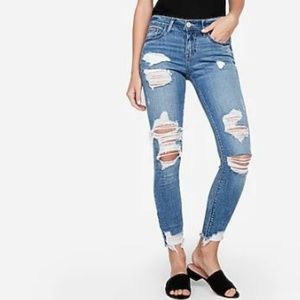 Mid Rise Medium Wash Ripped Ankle Leggings